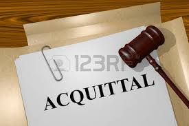 An acquittal is a decision in a criminal trail that the accused in not guilty.